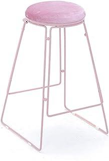 Silla Moderna de Taburete con Respaldo tapizado en Terciopelo   Sillas de Comedor de Alta Taburete de 60/75 cm para Cocina   Pub   Desayuno Metal del Taburete de la Carga máxima de 150 kg (Rosa)