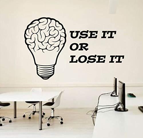 Utilisation De Motivation D'Autocollant De Vinyle De Bureau D'Affaires De Décoration D'Ampoule De Cerveau L' Utilisent Ou Le Perdent Mural 91X57Cm