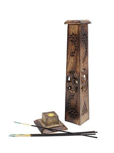 Regalo de Rakhi para su hermana encantadora Madera palillo del incienso, quemador Torre Holder, de...