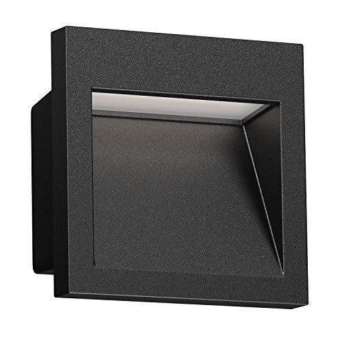 ledscom.de LED Wand-Einbauleuchte Nola für außen, schwarz, 90x90mm, warmweiß, 3000K, 3W =21W, 200lm