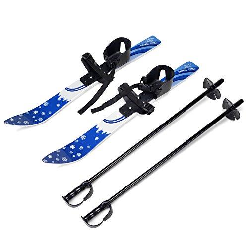 Odoland Ski-Set Kinderski All Mountain Ski Allmountain Rocker für 4 Jahre und jünger, Schneeflocke, bequem Sicher Perfekt für die Schuhen 15,5-20,5 cm Blau