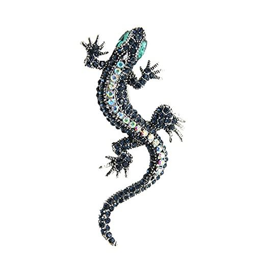 Marekyhm-es Lagarto Gecko Broche Exquisito Retro Personalidad Animal Corsage Collar Pines Ropa Ornamento Hombres y Mujeres (Metal Color : Blue)