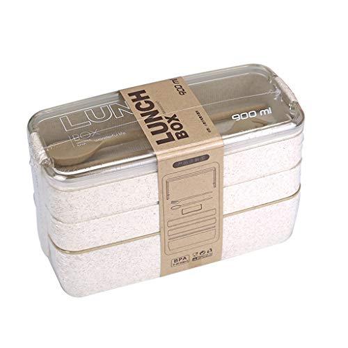 Mikiya de 3 Couches Bento Box Eco-Friendly Boîte à Lunch Contenant à Paille de blé Matériel Lunchbox Ustensiles de Cuisine Micro-ondable Accessoires de Cuisine