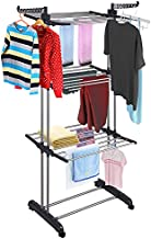 Aquaterior Folding 3 Tier Clothes Drying Rack Rolling Collapsible Garment Laundry Dryer Hanger Stand Rail Indoor Dark Grey