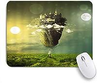 NIESIKKLAマウスパッド Girl Castle Dreamland Woman Roam Green Farmland Dreaming New Swan Stone Castle that Floating Sky Fantasy Nature Scene ゲーミング オフィス最適 おしゃれ 防水 耐久性が良い 滑り止めゴム底 ゲーミングなど適用