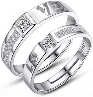 خواتم للزوجين مصنوعة من الحجر الابيض للزفاف والخطوبة، افضل اختيار من النوع المطلي بالفضة المُخصص للرجال والنساء