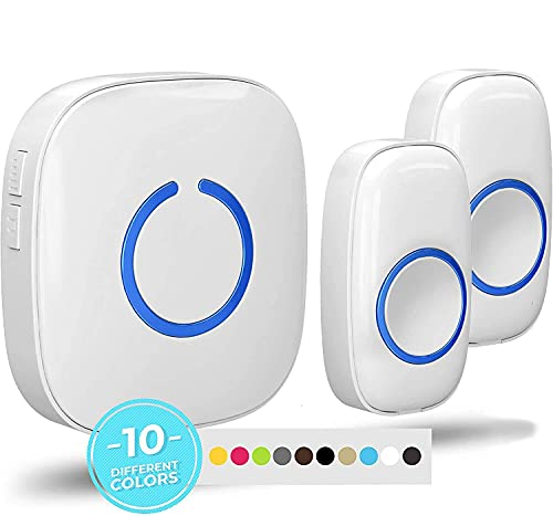 SadoTech Model CX Waterproof Wireless Doorbell Kit Battery Operated with 2 Push Button Transmitters and 1 Receiver, White