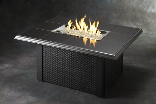 Read About Outdoor Great Room NV-1224-BLK-W-K Napa Valley Fire Pit Table Black with Wicker Base