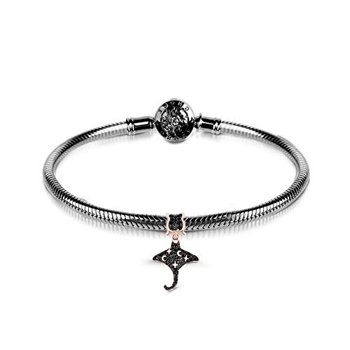 GNOCE Charms Bracelet Sterling Silver Black Plated Snake Chain with Mobula Charm Pendant Mobula Rays Flying Basic Charm Bracelet with Clasp Jewellery Gift for Women Mens (17)