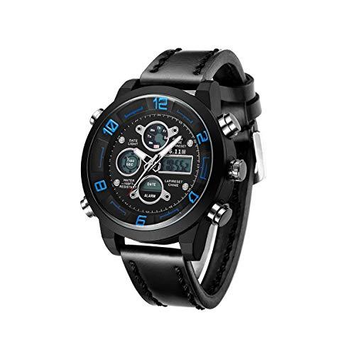 QLJ 6.11 Reloj de Pulsera de Doble Pantalla único Multifuncional para Hombres Escalada Militar Natación 10 m Reloj Luminoso de Negocios a Prueba de Agua - Negro y Azul