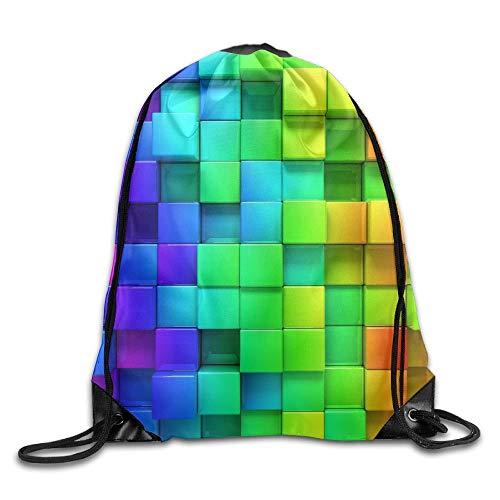 YOWAKi Fashion New Cubes 3D Unisex Outdoor Gym Sack Bag Sport Drawstring Backpack Bag