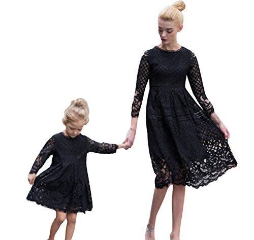 Minetom Kleid Mutter Und Tochter Atmungsaktiv Beiläufig Langarm Knielang Mode Spitze Hohl Kleid Beiläufige Familie Kleidung Mädchen Kind Schwarz 140