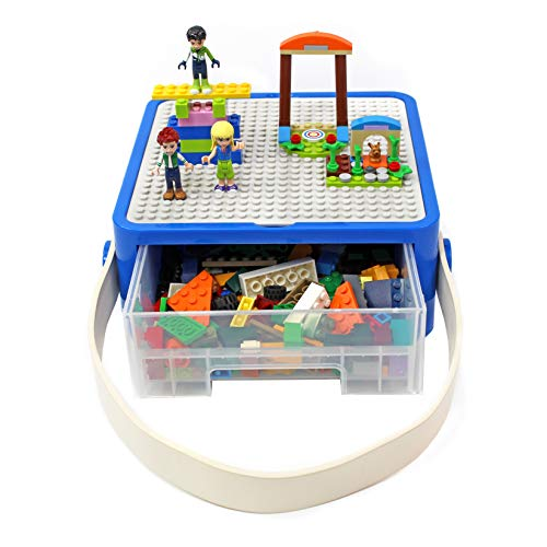 Bins & Things Lego-Compatible Storage Container with Lego Compatible Building Baseplate Lid (8 x 8 x 3.25 Inches) Durable Toy Carrying Case with Plastic Handle - Brick Toy Storage Organizer