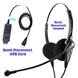 Economic Call Center Binaural headsets with Microphone for Computer with Plug N Play USB Headset Volume Control for MS Lync, Skype, Cisco Jabber, Avaya One-x Agent.