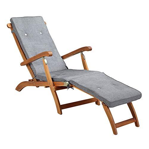 DeTeX Polsterauflage Gartenliege Deck Chair Wasserfest Baumwolle Garten Liegenauflage Auflage Sonnenliege Meliert Grau