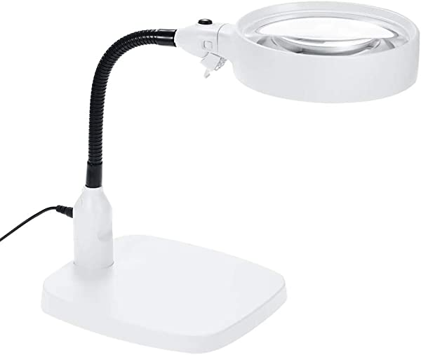 Shelfon Magnifiers Large Portable Ideal Magnifying Glass LED Free Magnifying Glass Hands Free Light Stand Reading Magnifying Glass Books Jewelry Making Coin Check Map Newspaper