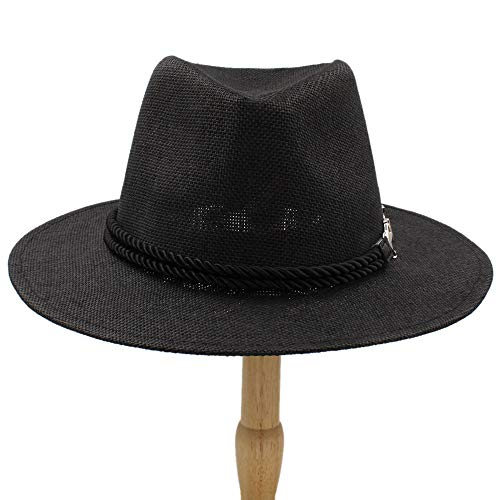 Sombrero femenino 2019 Jazz Hat, 2018 Hombres Mujeres British Retro Jazz Hat Moda Panaman Sombreros Fedora Fedoras Nuevo Unisex Algodón Escocesa Primavera Otoño ( Color : Negro , tamaño : 56-58CM )