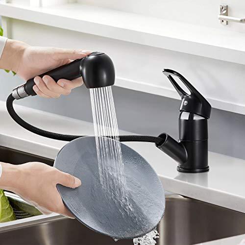 BONADE Ausziehbare Küchenarmatur mit Dual-Spülbrause Wasserhahn 360° Drehbare Spültischarmatur Hochdruck Armatur Küche Einhandmischer Mischbatterie für Spülbecken, schwarz