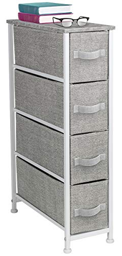 Sorbus Narrow Dresser Tower with 4 Drawers - Vertical Storage for Bedroom Bathroom Laundry Closets and More Steel Frame Wood Top Easy Pull Fabric Bins Gray