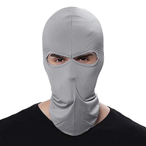 Fenti Gesichtsschutzmaske/ Facekini aus Lycra mit 2Ausschnitten, Einheitsgröße, für Extremsport/ Ski/ Surf/ Fahrrad/ Motorrad/ Airsoft/ Paintball L grau