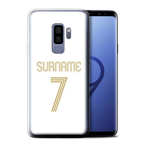 Personalizado Kit Camiseta Club Fútbol Euro Personalizar Funda para el Samsung Galaxy S9 Plus/G965 / Oro Blanco Diseño/Inicial/Nombre/Texto Carcasa/Estuche/Case