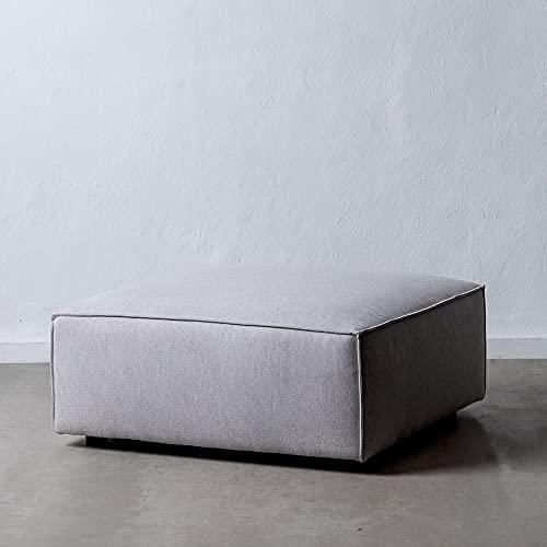 Sofá Modular púff Gris Claro de Tela y Madera de 94x94x44 cm - LOLAhome