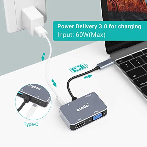atolla USB C Hub, 4 in 1 Aluminium USB C Adapter mit 4K HDMI, 1080P VGA, USB 3.0 Port, 60W PD-Stromversorgung für MacBook Pro 2019/2018, iPad Pro, Laptops und mehr Type-C Geräte