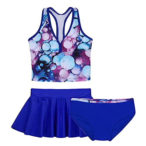 Agoky Mädchen Tankini Set mit Shorts und Rock 3 PCS Badeanzug Oberteile Tank Top Baderock Badeslip zum Schwimmen Schwimmanzug in Lila gr. 98-164 Bubbles Blue 158-164