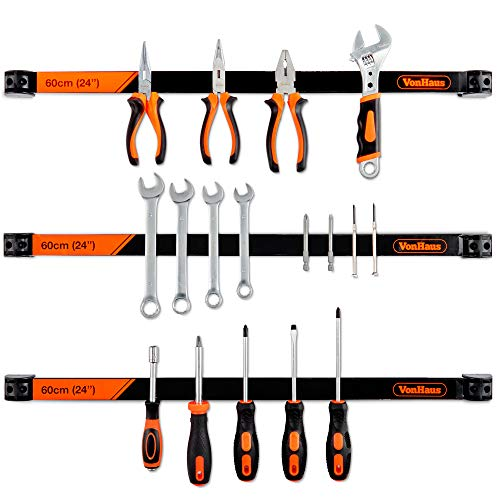 VonHaus Magnetic Tool Holder Bar Organizer Racks - 3 X 24 Inch - Removable Dividers for Connecting Strips for Tools in The Garage and Workshop - Mounting Bracket and Screws Included