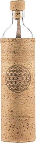 Flaska Wasserflasche wiederverwendbar aus Glas - Neo Design, Spirituell, Blume des Lebens, 0.5 l