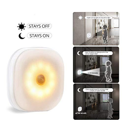 HEMIYUAN Luz de la noche10 LED luz nocturna sensor de movimiento infrarrojo PIR luz inalámbrica para luz de pared del dormitorio luz nocturna de encendido/apagado automático, blanco cálido, 1 PCS