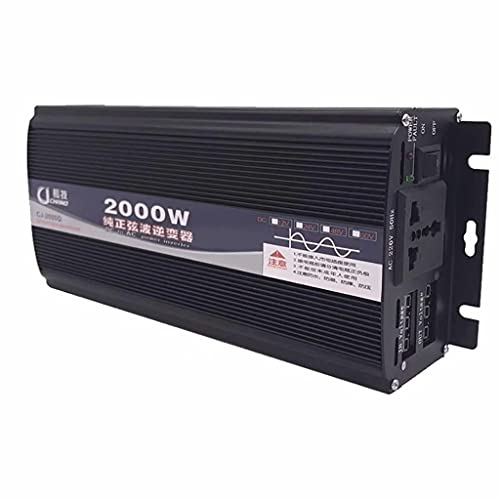 SJZD Inversor de Onda sinusoidal Pura, 12V / 24V / 48V / 60V / 72V ~ 220V, 1000W / 2000W / 3000W / 4000W Transformador convertidor, Pantalla LCD Dual, 72V-2000W