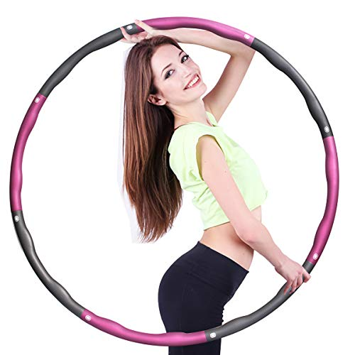Surwit Hula Fitness Reifen Hula Fitness für Erwachsene & Kinder zur Gewichtsabnahme und Massage, Schaumstoff gepolstert 8 Wellenabschnitte Spleißen Abnehmbar Hula-Fitness-Reifen für Training