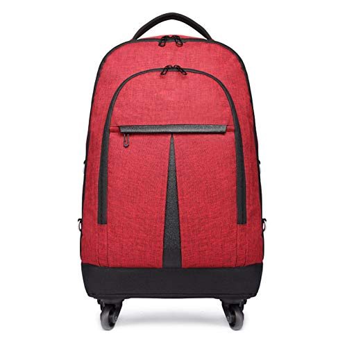 FREETT Business Trolley Backpack, Wheeled Laptop Backpack for Boarding Travel and School, Men Trolley Suitcase, Waterproof, 35 * 23 * 54 cm,Red