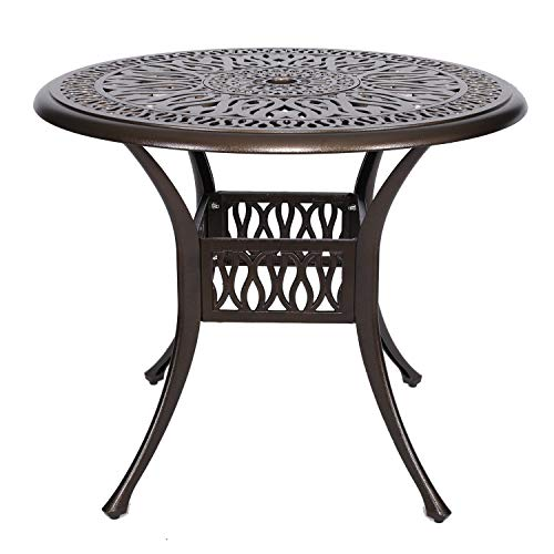"FULLWATT 35"" Cast Aluminum Dining Table Outdoor Retro Bistro Table Round Dining Table with 1.9"" Umbrella Hole for Patio or Garden (35"")"