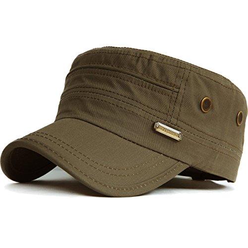 Kuyou - Gorra de béisbol unisex, estilo militar vintage, plana, de algodón 005, verde militar. Talla única