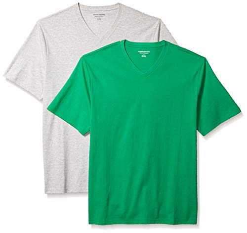 Amazon Essentials - Lot de 2 - V-Neck T-shirt - Homme - Bright Green/Light Heather Grey - S