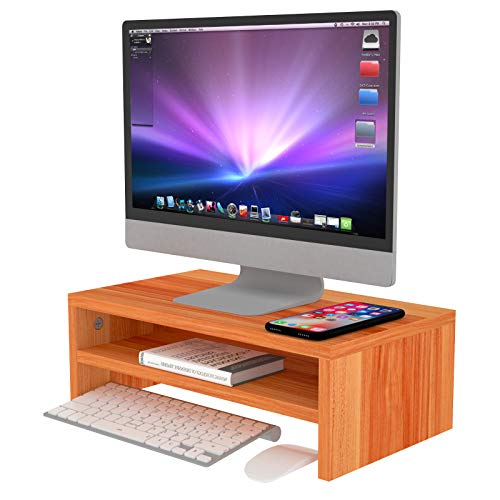 CHARMDI Monitor Stand Riser, Wood Monitor Stand Riser for Desk, Laptop Printer Stand, 2 Tier Desktop Monitor Screen Riser for Home or Office