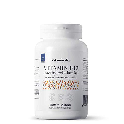 Vitaminalia B12 | Active Form: Methylcobalamin 2000 mcg | 1 Year Supply (12 Months) | Supplement for Vegans and Vegetarians | Vegan, Gluten Free, Lactose Free, 365 Tablets