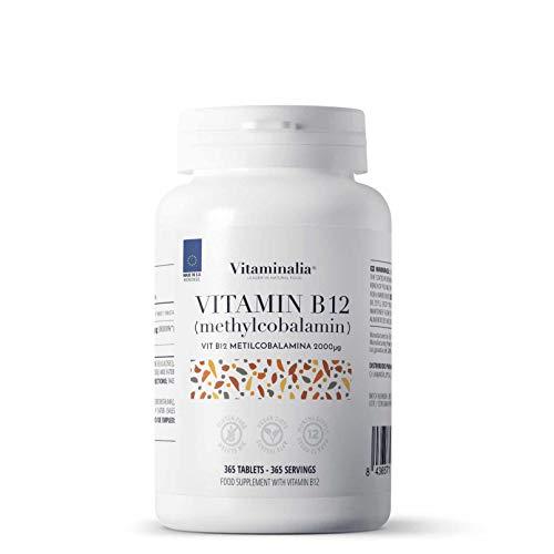 Vitamina b12 2000mg veganas de Vitaminalia | Dosis Alta de Metilcobalamina | Suplementos b12 para reducir el cansancio | Sin Gluten, Sin Lactosa, Sin OMG, 365 Tabletas