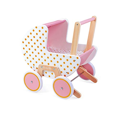 Janod- Candy Chic-Cochecito de Madera bebés de hasta 42 cm-Ruedas silenciosas-Sistema antivuelco-Incluye Manta y Almohada-Accesorios para muñecas-A Partir de los 18 Meses (JURATOYS J05886)