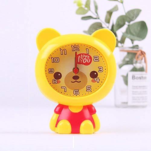 JJIAOJJ Reloj despertador para estudiantes con lindos dibujos animados para niños, reloj despertador especial para dormitorio con personalidad perezosa para hablar, color rosa (color: amarillo)