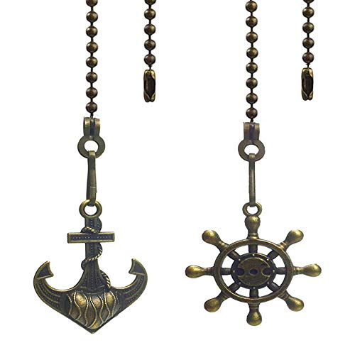 Hyamass 2pcs Vintage Anchor and Wheel Charm Pendant Ceiling Fan Danglers Fan Pulls Chain Extender with Ball Chain Connector(Bronze)