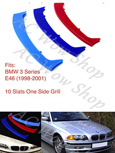 BizTech/® Inserti per griglie compatibili con BMW Serie 1 E87 2003-2011 12 griglie M Power M Sport Tech con clip per griglia a strisce decorative in 3 colori.
