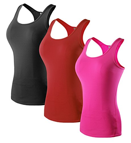 Sport Yoga Tanktops Damen Workout 3 Packs Dry Fit Kompression Running Fitness T-Shirt Schwarz Rot Rose Tag(M)=EUR S