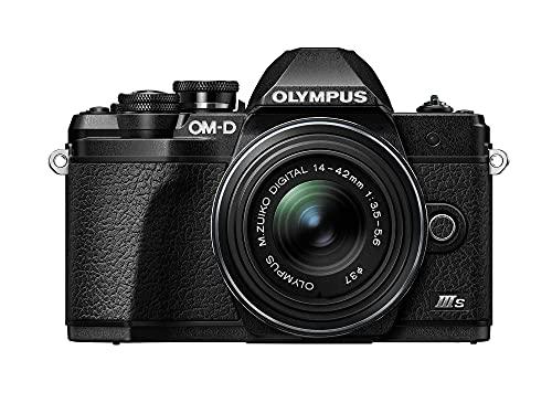 Kit fotocamera Olympus OM-D E-M10 Mark III S, sensore da 16 MP, schermo LCD inclinabile HD, 4K, Wi-Fi, mirino elettronico, nero incl. M.Zuiko Digital ED 14-42mm EZ, nero