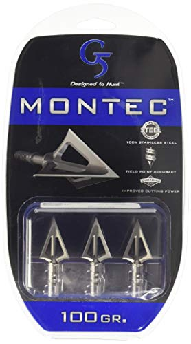 G5 Outdoors Montec 100 Grain 1-1/16' Cut Broadheads (3 Pack)