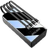 PWQ-01 80000Mah Cargador Portatil Power Bank Movil con Cavo Integrato Bateria Portatil, 4 Entradas Y 7 Salidas Batería Externa con Pantalla LED Banco De Energía para Teléfonos Móviles Y Otros