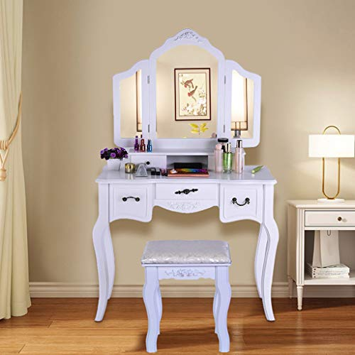 Review Wooden Vanity, Make Up Table and Stool Set, Dressing Table with 5 Sliding Drawers, Modern Bed...