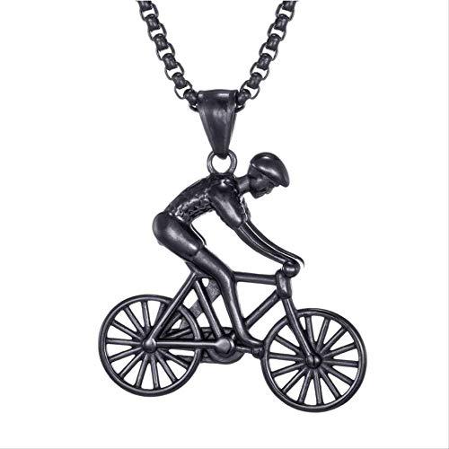 Yuan Ou Collar Hombre Bicicleta Colgante Hombres Collar Acero Inoxidable Ciclismo Collar Encantos Cuerpo Bicicleta Deportes Collar Ciclismo Joyería Regalo De Joyería 41mm*42mm Negro